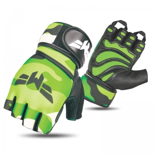 Weightlifting Neon Green Camo Gloves